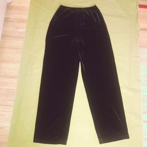 Black Velvet Pants Trousers Goth Soft Hi Waist